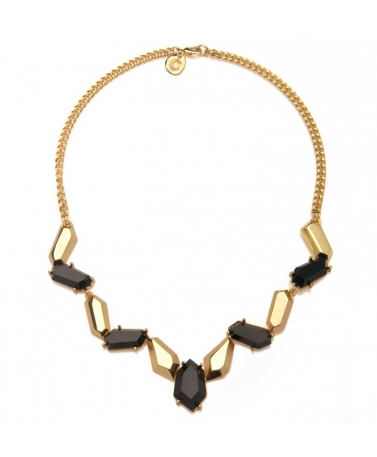 Black & Gold Geometric Collar Necklace