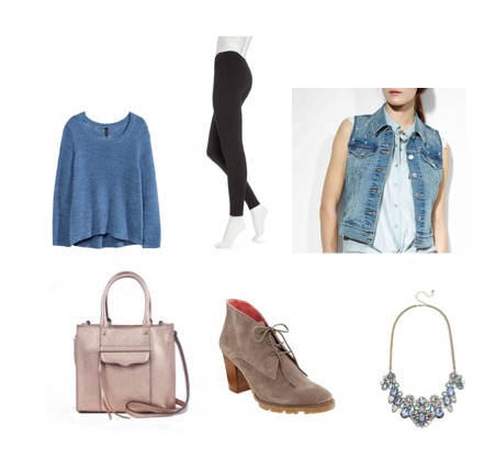 Sweater: H&M Leggings: Hue Vest: Levi's Bag: Rebecca Minkoff Shoes: Gap Necklace: BaubleBar