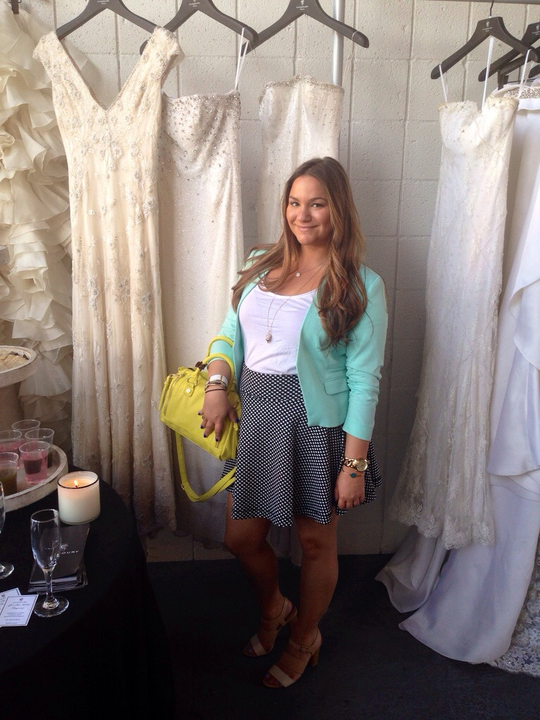Chic With Chagoury Chagoury Couture LA Cali California RHOBH Designer Wedding Gowns Joanna Krupa Taylor Armstrong Urban Outfitters Polka Dots Mint Blazer Steve Madden Neon Bag