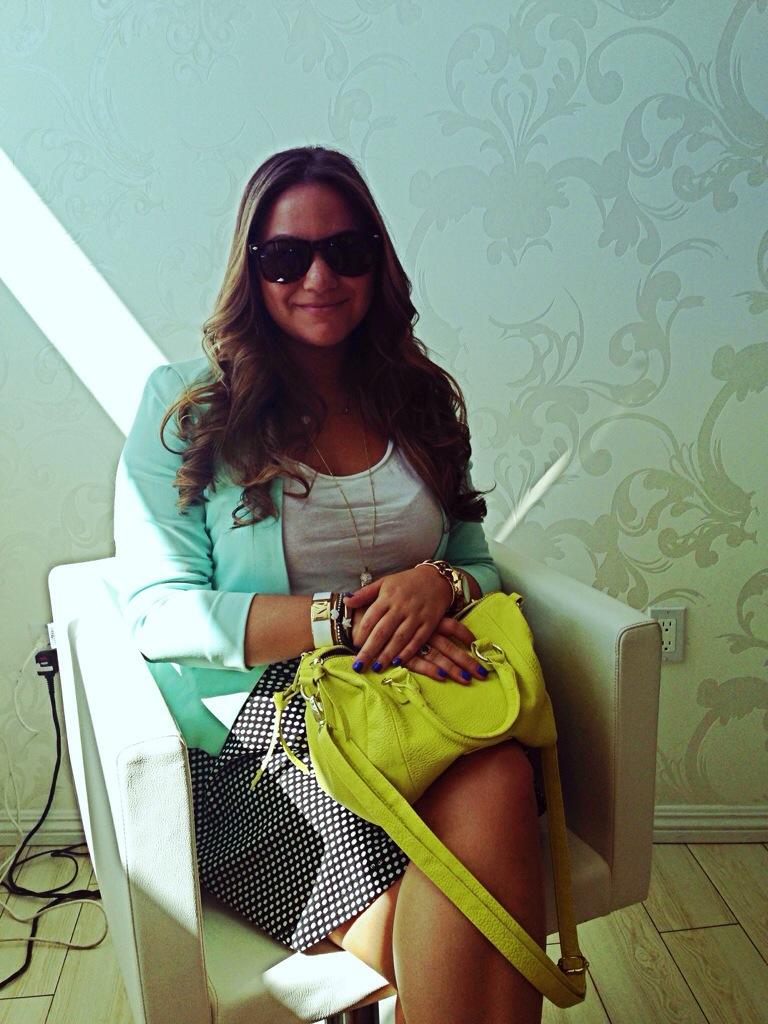 Hairstyle Neon Handbag Steve Madden Sunglasses Mint Blazer MissyOnMadison