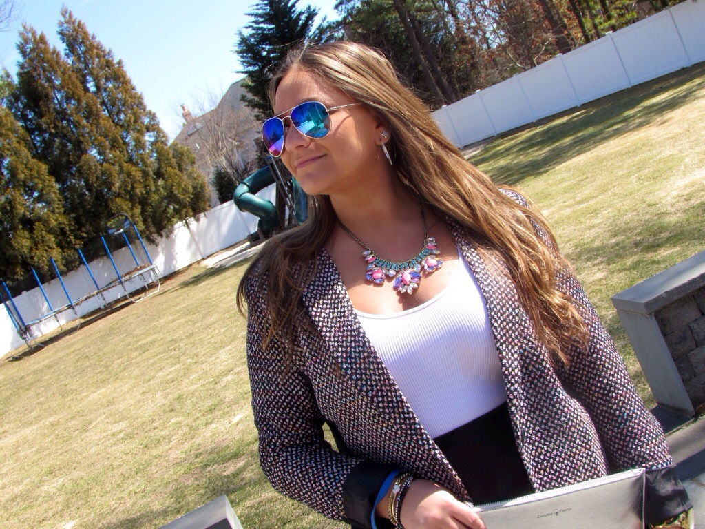tweed blazer king charles cavalier mirrored aviators sunglasses blue suede pumps spring fashion blog fashion blogger missyonmadison blogger pet dog puppy puppy love chic style sunglass warehouse target style statement necklace silver clutch