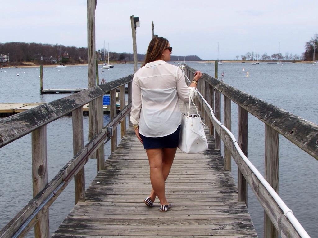 MissyOnMadison nautical long island white button down old navy blowfish shoes white tote henri bendel sunglasses li new york beach boat summer spring boating fashion fashion blog fashion blogger