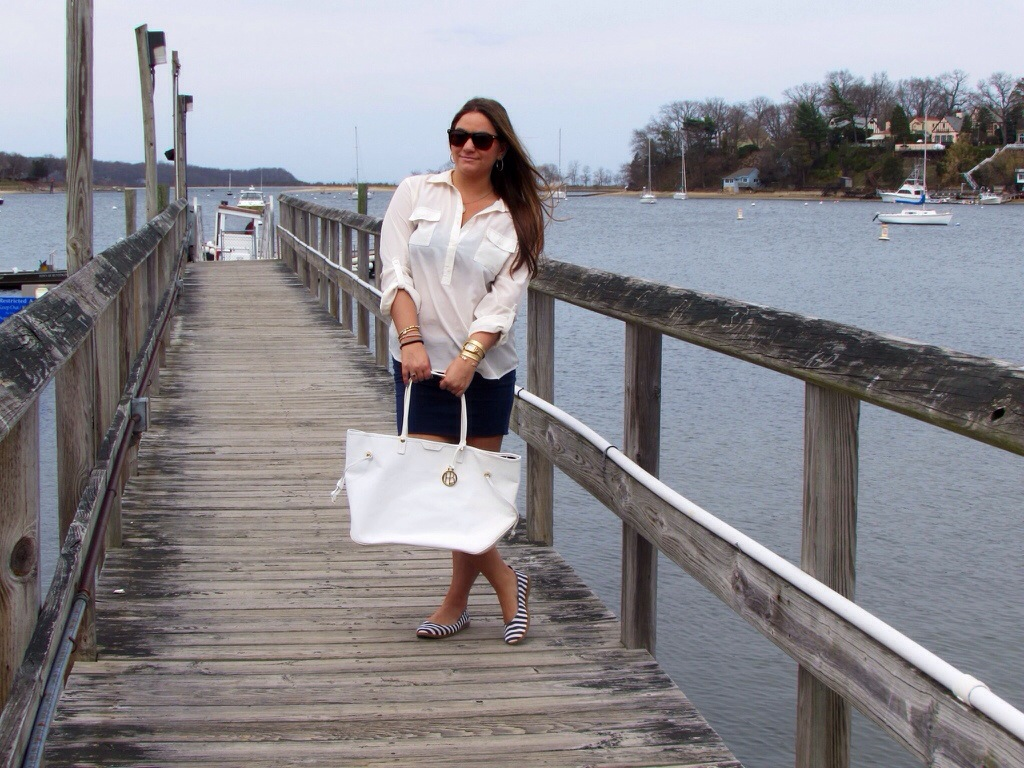 MissyOnMadison nautical long island white button down old navy blowfish shoes white tote henri bendel sunglasses li new york beach boat summer spring boating fashion fashion blog fashion blogger