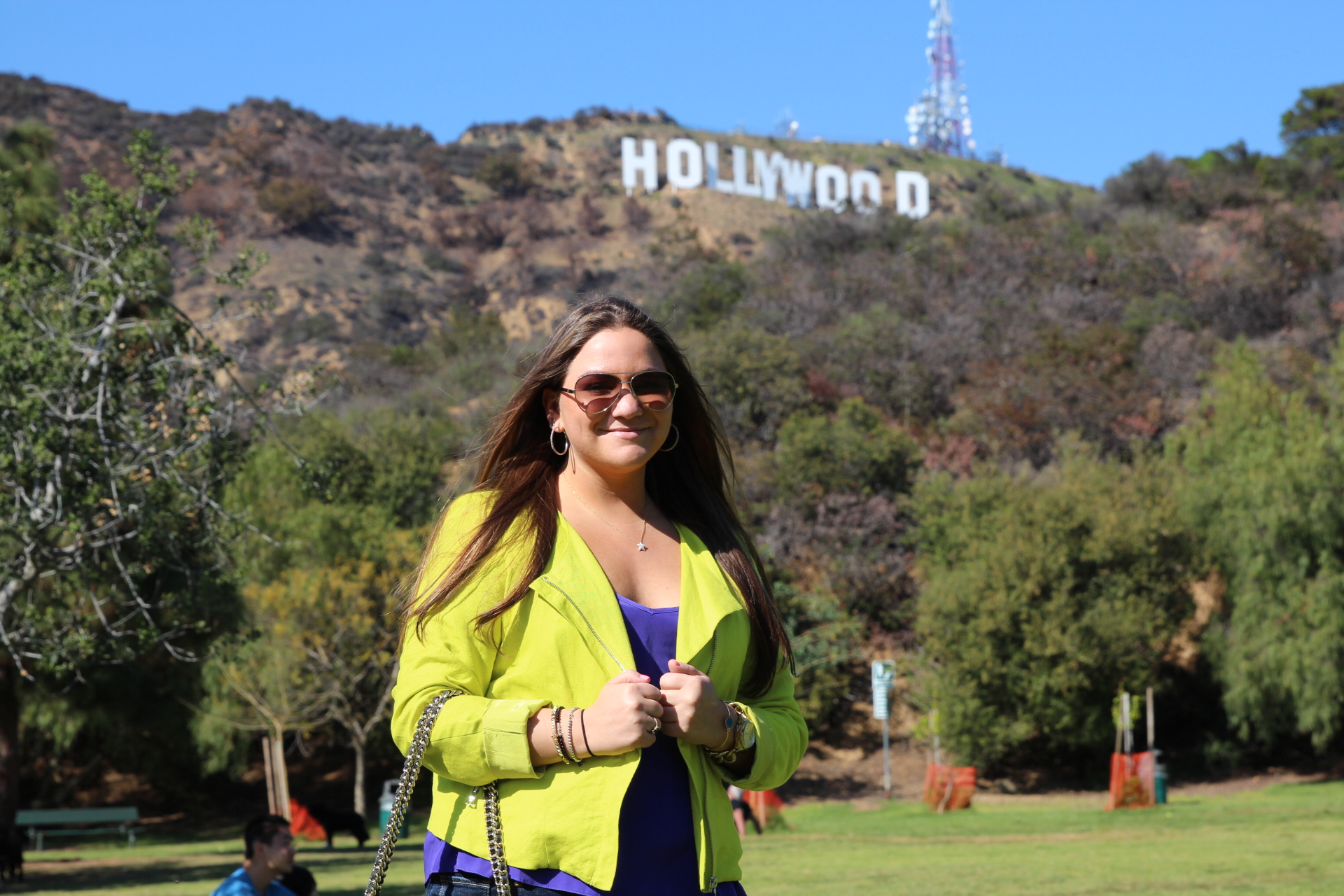 Hollywood Sign MissyOnMadison Karen Kane Neon Moto Jacket Rebecca Minkoff Handbag Designer Aviator Sunglasses Hugo Boss Fashion MissyOnMadison