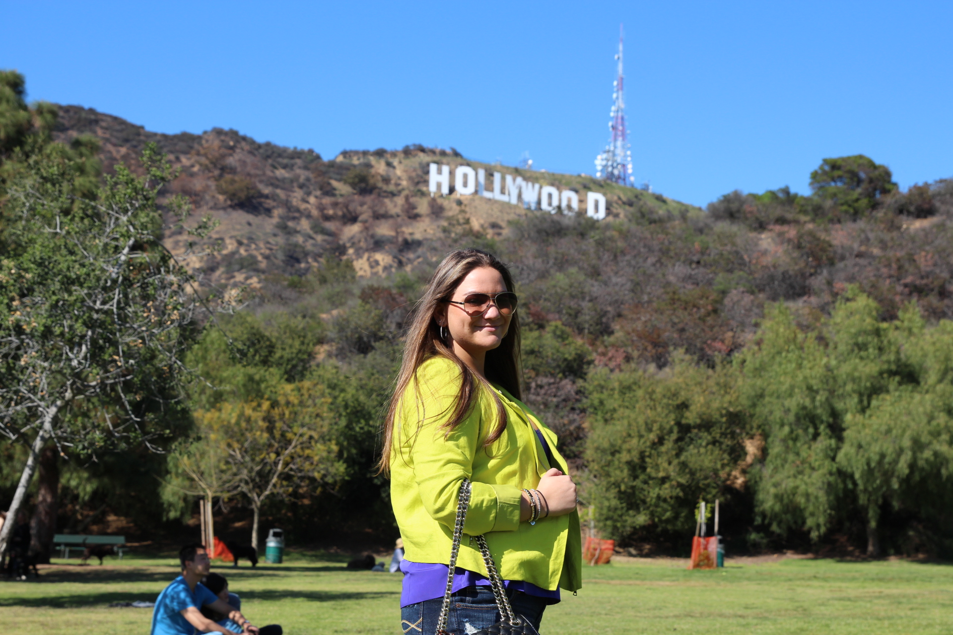 Karen Kane MissyOnMadison Moto Jacket Neon Rebecca Minkoff Handbag Hollywood Sign Tourist Cali California Blogger