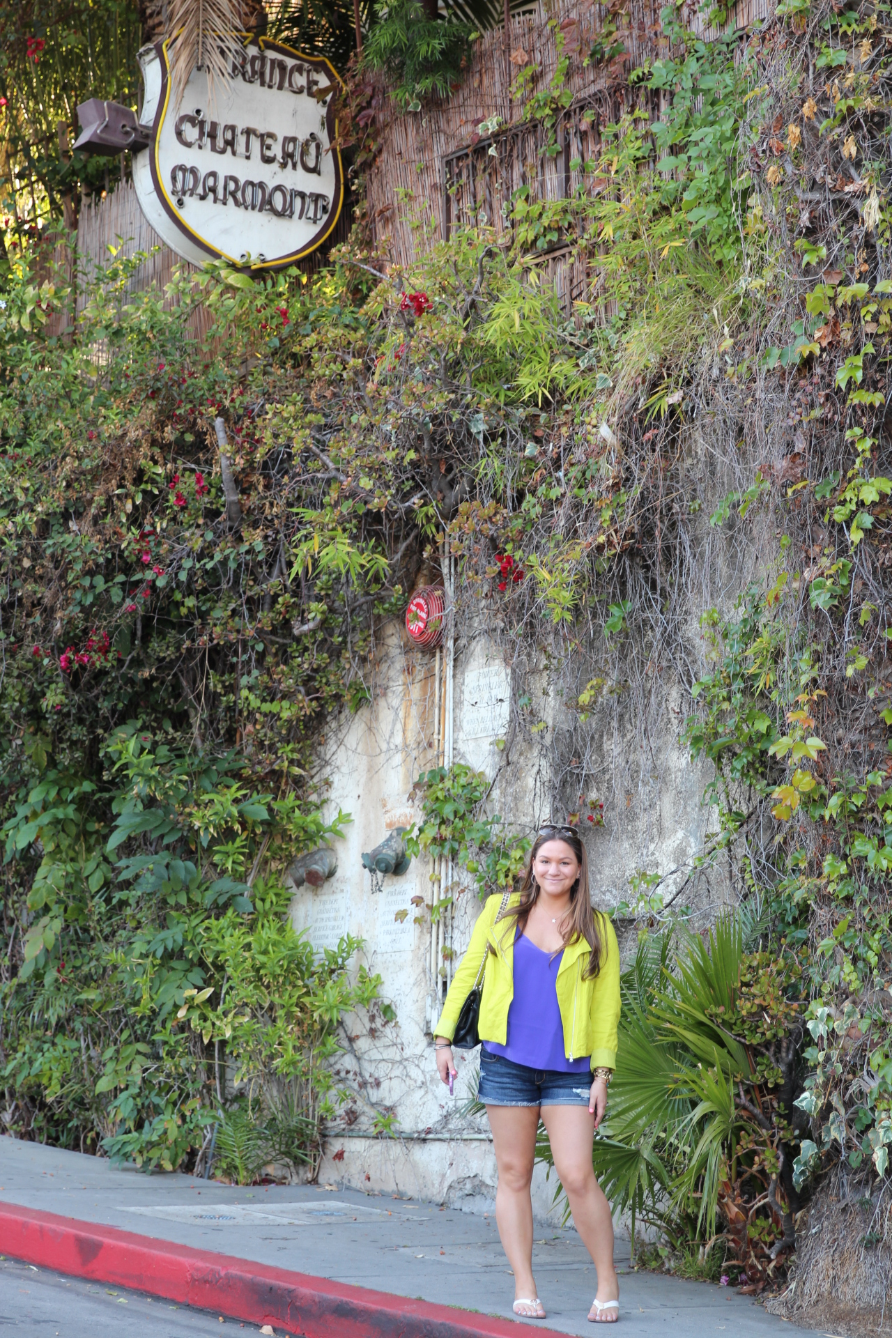 La Cali California Trip Vacation Chateau Marmont Neon Moto Jacket Karen Kane Asos Abercrombie Shorts Denim Shorts Rebecca Minkoff MissyOnMadison