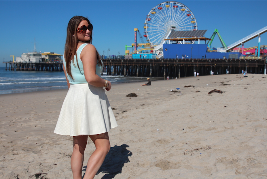 santa monica pier beach sun sunglasses pastels missyonmadison easter love fun white skirt mint top ferris wheel boardwalk travel trip vacation