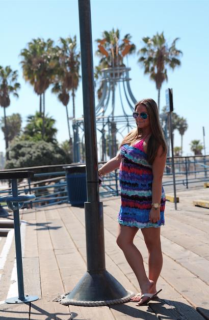 SantaMonicaPier MissyOnMadison fashion style beach cali california la vacation trip travel colorful neon swimwear shop styleblog fashionblog fashionblogger
