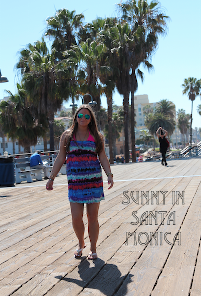 santanmonicapier la cali california missyonmadison travel trip vacation neon pink palmtrees